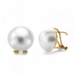 Pendientes oro 18k perla japonesa 14mm. [AB3300]