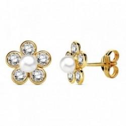 Pendientes oro 18k flor perla circonitas 9mm. [AB3324]