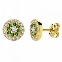 Pendientes oro 18k piedras verdes circonita 7mm. [AB3331]