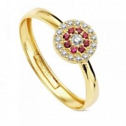 Sortija oro 18k piedras rojas circonita 7mm. [AB3333]