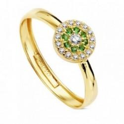 Sortija oro 18k piedras verdes circonita 7mm. [AB3334]