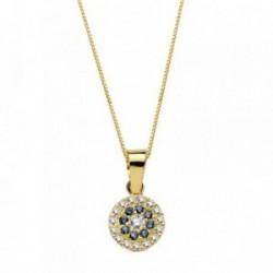 Colgante oro 18k piedras azules circonita 7mm. cadena 45cm. [AB3335]