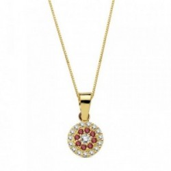Colgante oro 18k piedras rojas circonita 7mm. cadena 45cm. [AB3336]