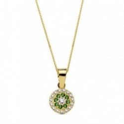 Colgante oro 18k piedras verdes circonita 7mm. cadena 45cm. [AB3337]