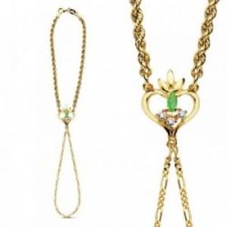 Pulsera oro 18k india corazón y cordón 8,50gr.  [AB3376]