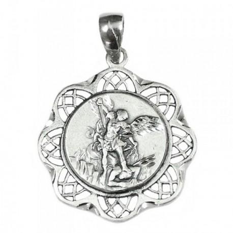 Medalla colgante plata ley 925m San Miguel cerco calado [AB3479]