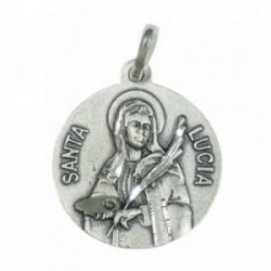 Medalla colgante plata ley 925m Santa Lucía 20mm. [AB3482GR]