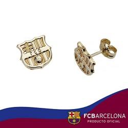 Pendientes escudo F.C. Barcelona oro de ley 9k liso [6553]