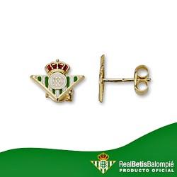 Pendientes escudo Real Betis oro de ley 18k cierre presión [8618]
