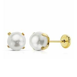 Pendientes oro 18k perla 6mm. cierre tornillo [AA2590]