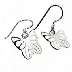 Pendientes plata Ley 925m mariposas 24mm. caladas lisas