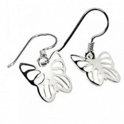 Pendientes plata Ley 925m mariposas caladas 24mm. [AB3539]