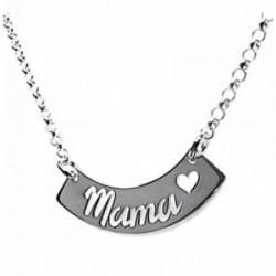 Gargantilla plata Ley 925m rolo motivo mamá corazón 41cm. [AB3558]