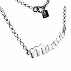 Gargantilla plata Ley 925m MAMÁ cadena rolo 41cm. [AB3568]
