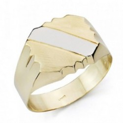 Sello oro 9k bicolor caballero banda hueco [AA7505GR]