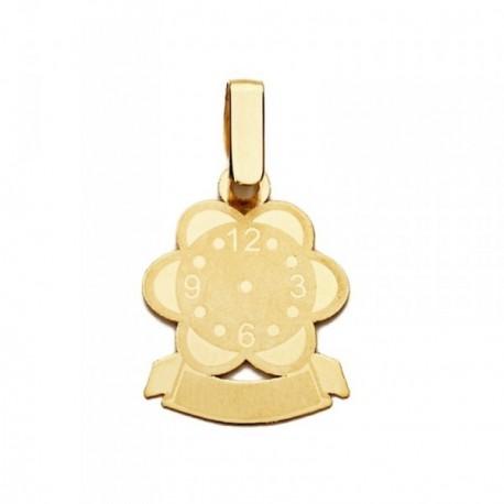 Colgante oro 9k reloj flor 17mm. mujer ancho 13mm.
