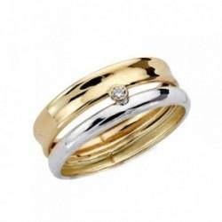 Sortija oro 9k bicolor bandas lisas centro circonita mujer