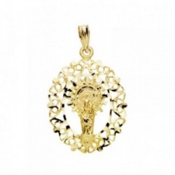 Colgante oro 9k Virgen Pilar orla 28mm. [AB3669]
