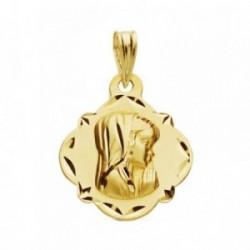 Medalla oro 9k Virgen Niña 19mm. colgante liso rombo borde detalles calados picos
