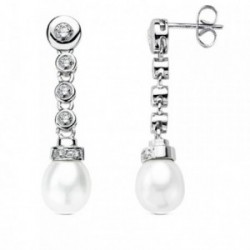 Pendientes oro blanco 18k 4 diamantes perla 0,15ct. [AB3683]