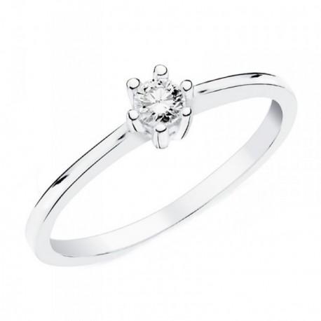 Solitario oro blanco 18k mujer liso centro brillante 0,100ct. pureza diamante SI1