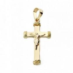 Colgante oro 18k cruz con Cristo hilos Hueca 23mm. [AB3687]