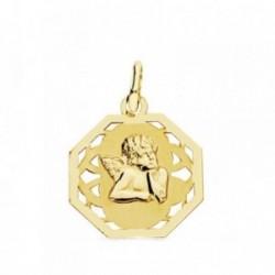 Medalla oro 18k angelito burlón calada 17mm. octogonal