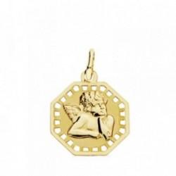 Medalla oro 18k Ángelito burlón calada 17mm. octogonal