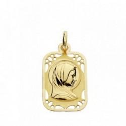 Medalla oro 18k Virgen Niña cerco calado 19mm. [AB3690]