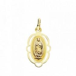 Medalla oro 18k Virgen Guadalupe cerco 20mm. oval trasera lisa