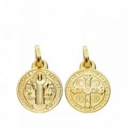 Medalla oro 18k escapulario San Benito 12mm. [AB3694]