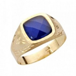 Sello oro 9k caballero piedra azul tallado 9mm. [AB3695]