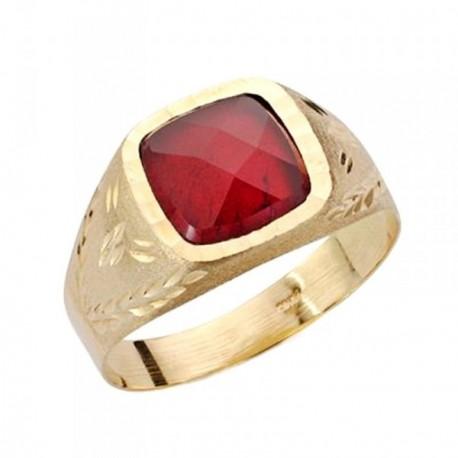 Sello oro 9k caballero piedra roja tallado 9mm. [AB3696]