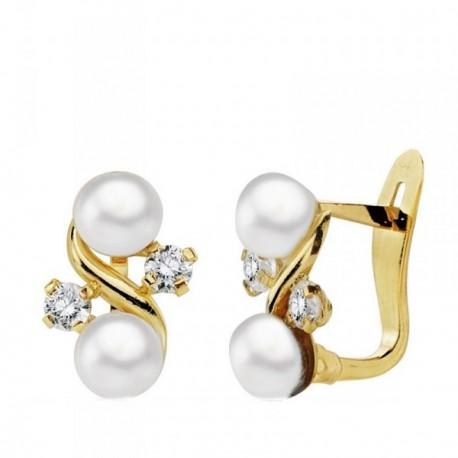 Pendientes oro 18k perla cultivada circonitas 11mm. [AB3701]