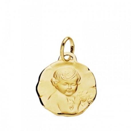 Medalla oro 18k Niño de la flor 15mm. [AB3744]