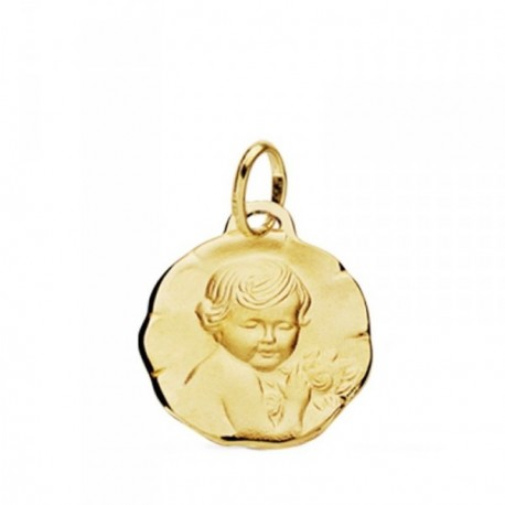 Medalla oro 18k Niño de la flor 15mm. [AB3744GR]
