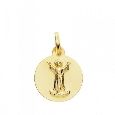 Medalla oro 18k Niño Divino 14mm. [AB3758]