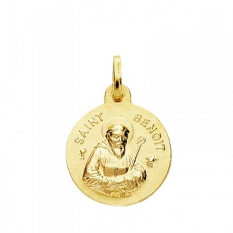 Medalla oro 18k San Benito 16mm. [AB3760]