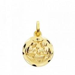 Medalla oro 18k Bautismo 14mm. filo tallado