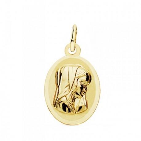 Medalla oro 18k Virgen Niña óvalo 19mm. [AB3771]