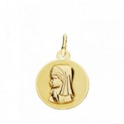 Medalla oro 18k Virgen Niña 14mm. [AB3772]
