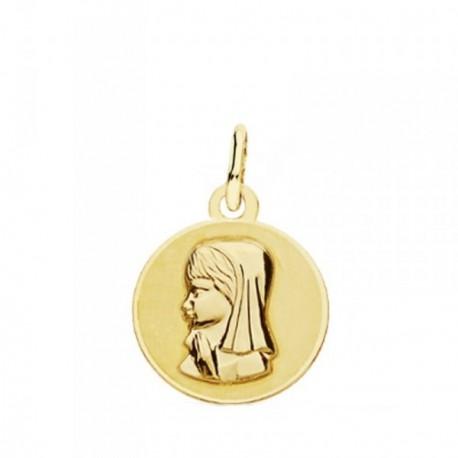 Medalla oro 18k Virgen Niña 14mm. lisa redonda virgen relieve borde brillo