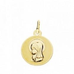 Medalla oro 18k Virgen Niña 14mm. [AB3773]