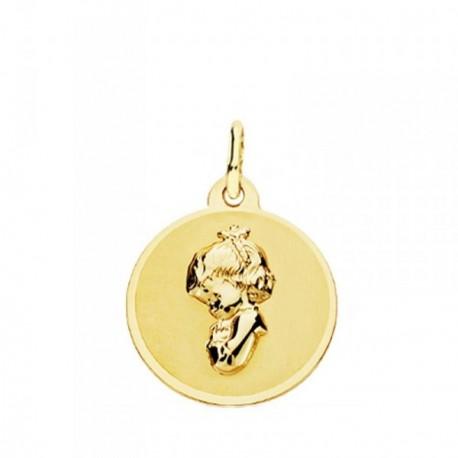 Medalla oro 18k Virgen Niña 16mm. colgante redondo liso virgen relieve borde brillo