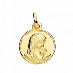 Medalla oro 18k Madre con Niño 18mm. [AB3788]