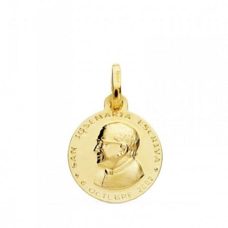 Medalla oro 18k San Josemaría Escrivá de Balaguer 14mm. redonda lisa