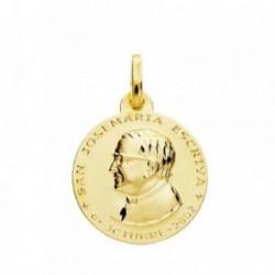 Medalla oro 18k San Josemaría Escrivá de Balaguer 18mm. redonda lisa