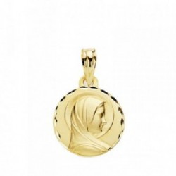Medalla oro 18k María Francesa 14mm cerco tallado [AB3802]