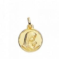 Medalla oro 18k Madre con Niño 15mm. [AB3803]