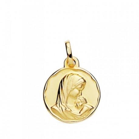 Medalla oro 18k Madre con Niño 15mm. [AB3803GR]